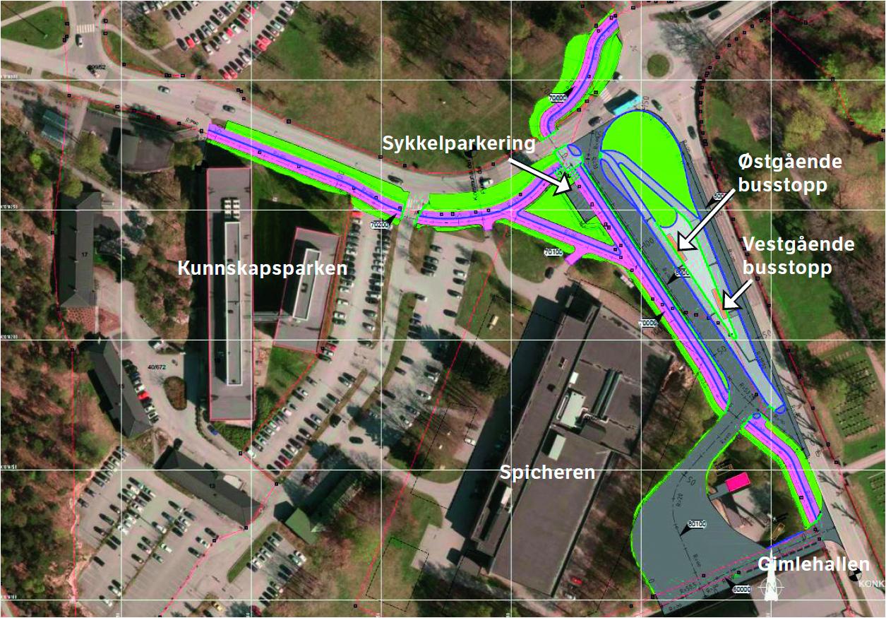 Nye bussholdeplasser, gang- og sykkelvei og sykkelparkering neste år