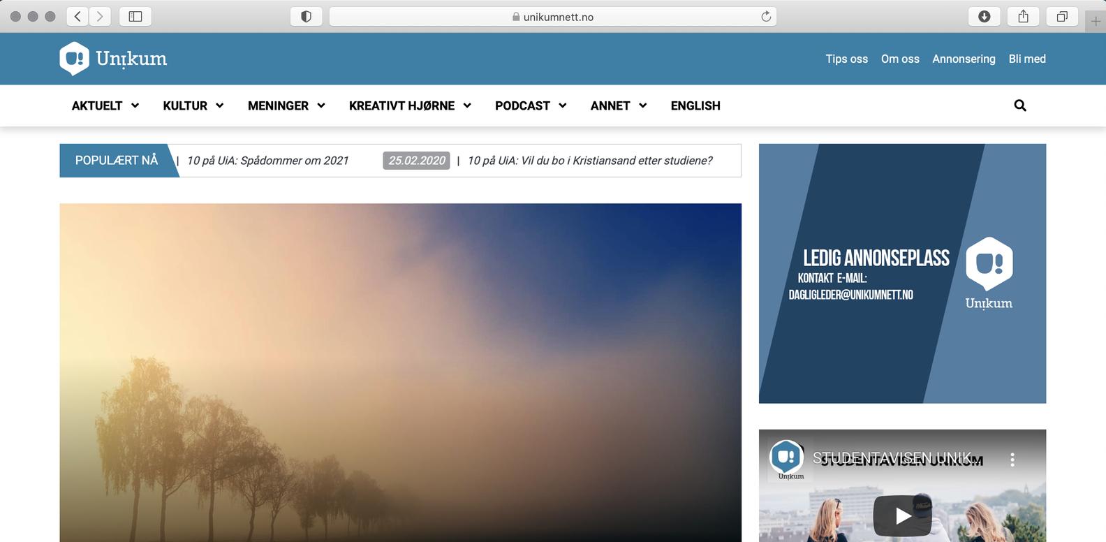 Unikumhar fått nynettavis: –Viktig medet godt medietilbud på nett