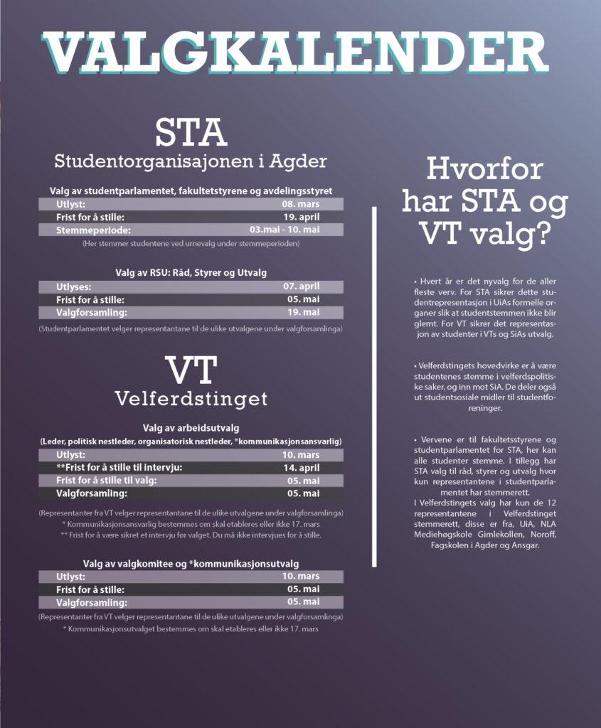 Kalender med oversikt over datoer til studentvalget våren 2021