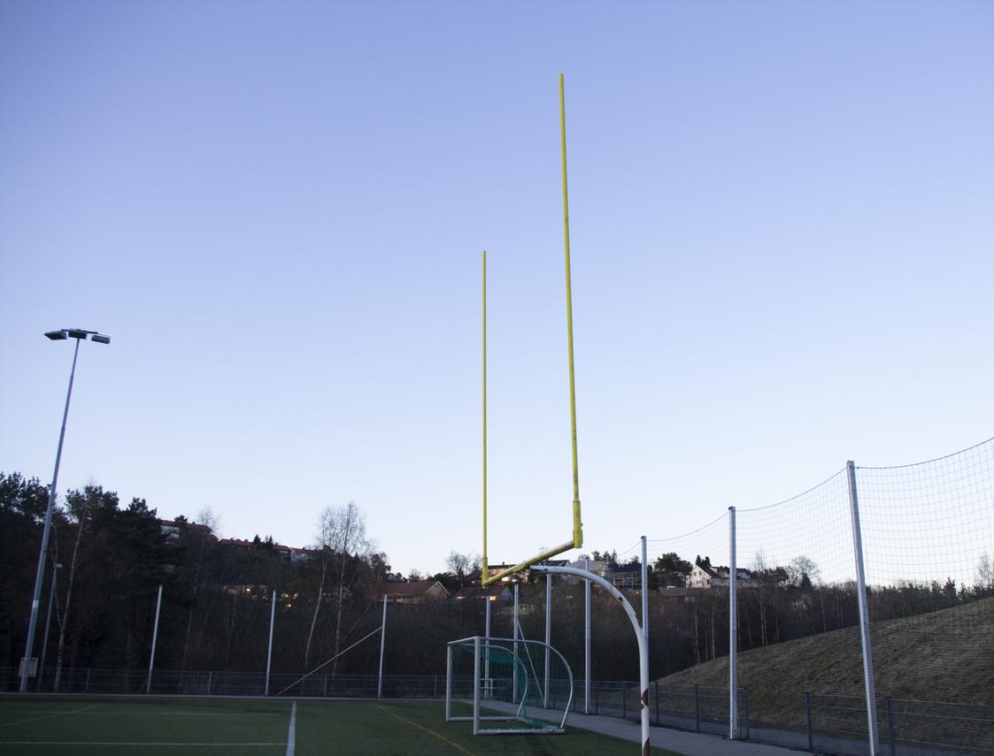 Mål:Ved Karuss er banen tilrettelagt for amerikansk fotball. Foto: Anders Gerhardsen