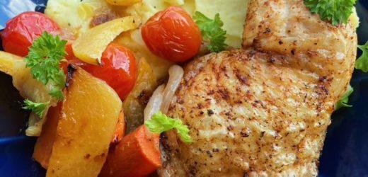 Kyllinglår medfyldig potetstappe ogovnsbakterestegrønsaker